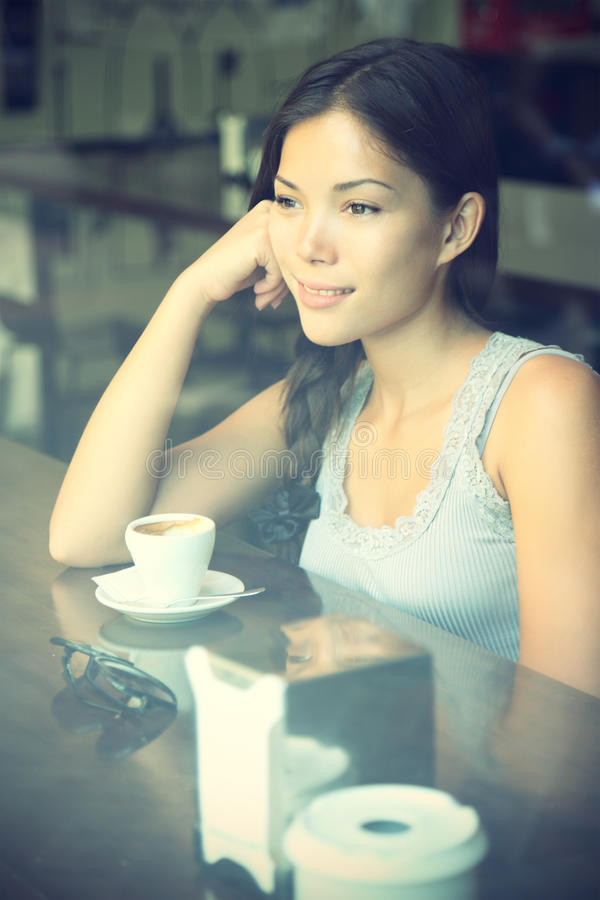 Free Cafe Woman Thinking Royalty Free Stock Image - 15662266