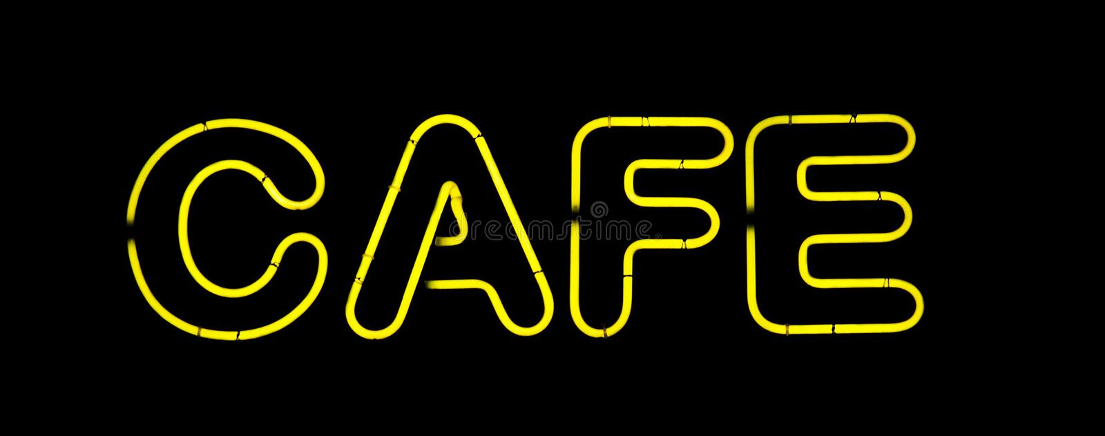 Cafe yellow neon sign royalty free stock photos