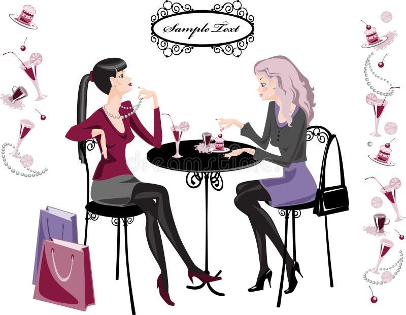 cafeflickor royaltyfri illustrationer
