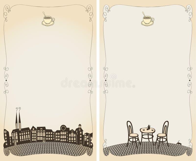 cafemenysommar vektor illustrationer