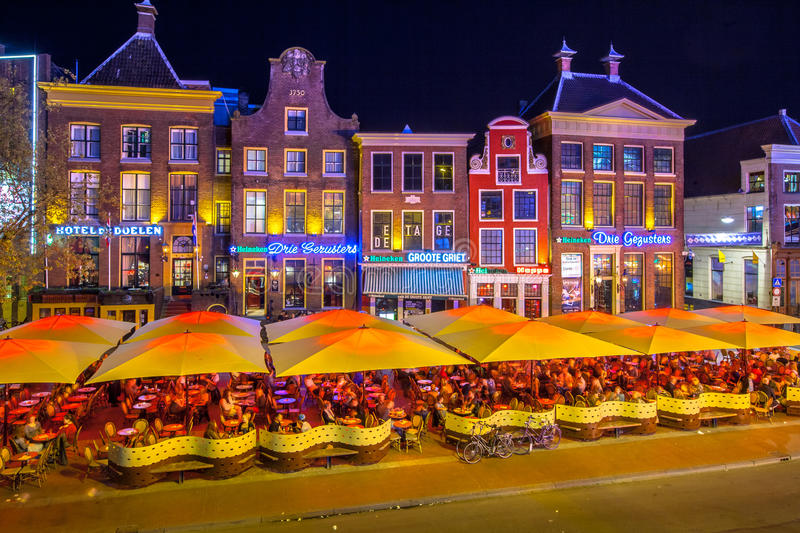 Cafes Grote Markt stock photo