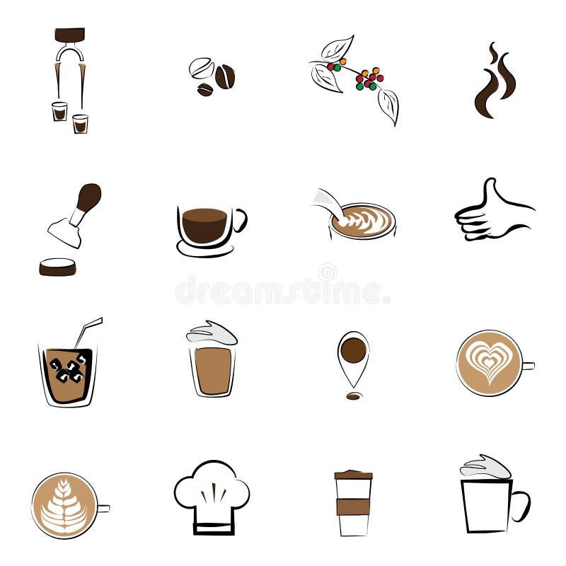 Cafetaria ajustada do feijão de café do ícone do café foto de stock