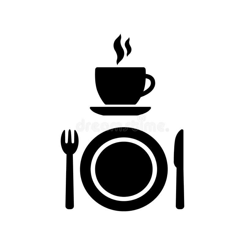 Cafetaria en diner vectortekens Koffiekop met rook, een vork, een mes en de symbolen van een plaatpictogram Restaurant en koffiep vector illustratie