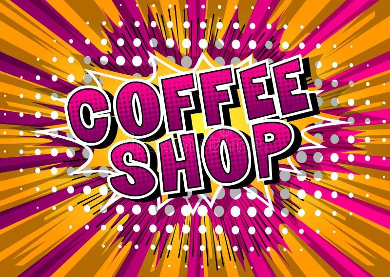 Cafetaria - palavra do estilo da banda desenhada ilustração stock