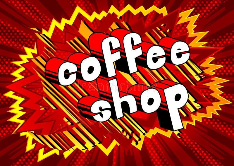 Cafetaria - palavra do estilo da banda desenhada ilustração do vetor