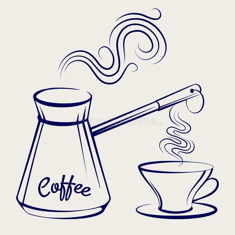 Cafeteira e copo tradicionais ilustração royalty free