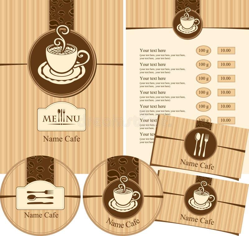 Cafetería del estilo del menú stock de ilustración