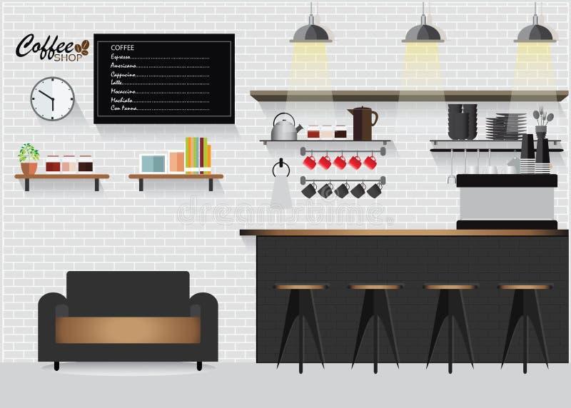 Cafetería plana moderna del diseño stock de ilustración