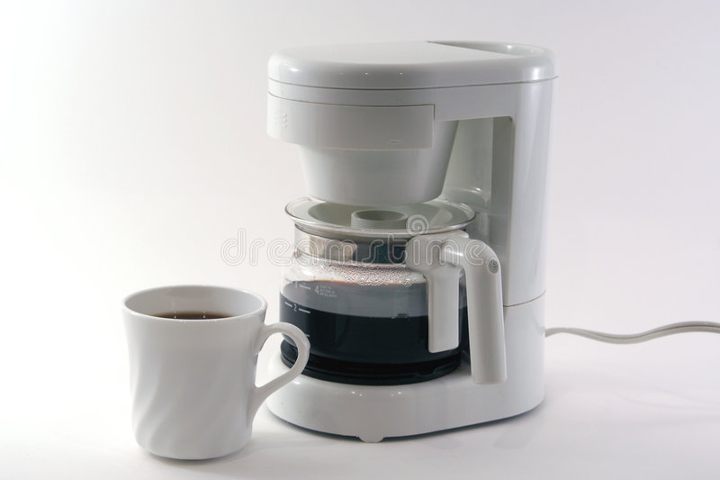 Cafetera blanca, taza, aislada fotos de archivo