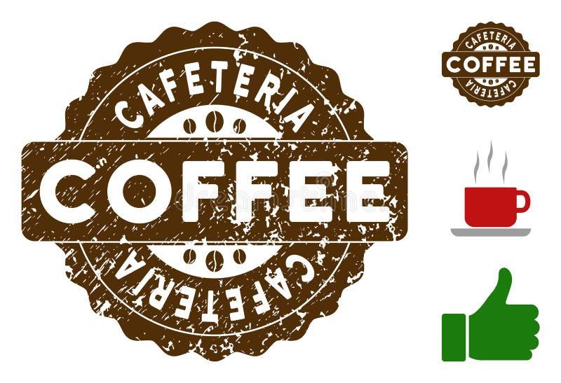 Cafeteria-Ausweis-Stempel mit verkratzter Beschaffenheit vektor abbildung