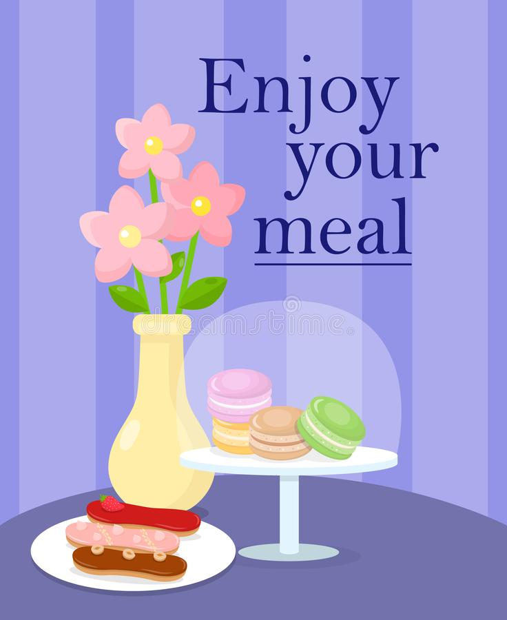 Cafeteria diente Tabellen-Karikatur-Vektor-Illustration lizenzfreie abbildung