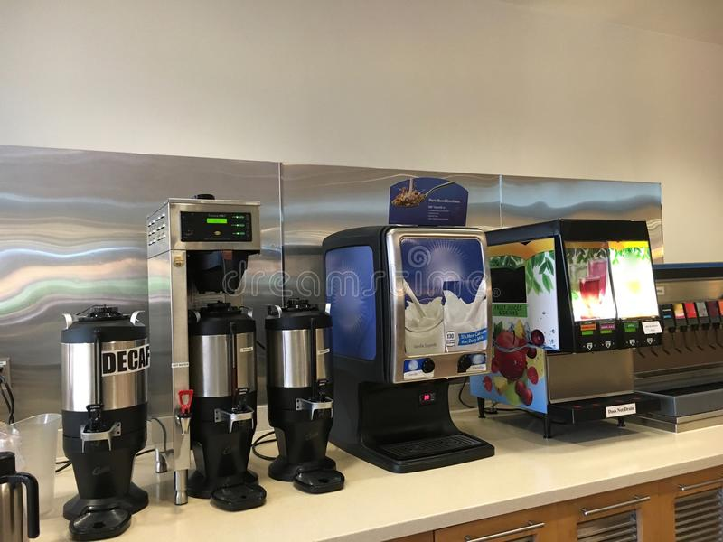 Cafeteria Drinks Counter royalty free stock photos