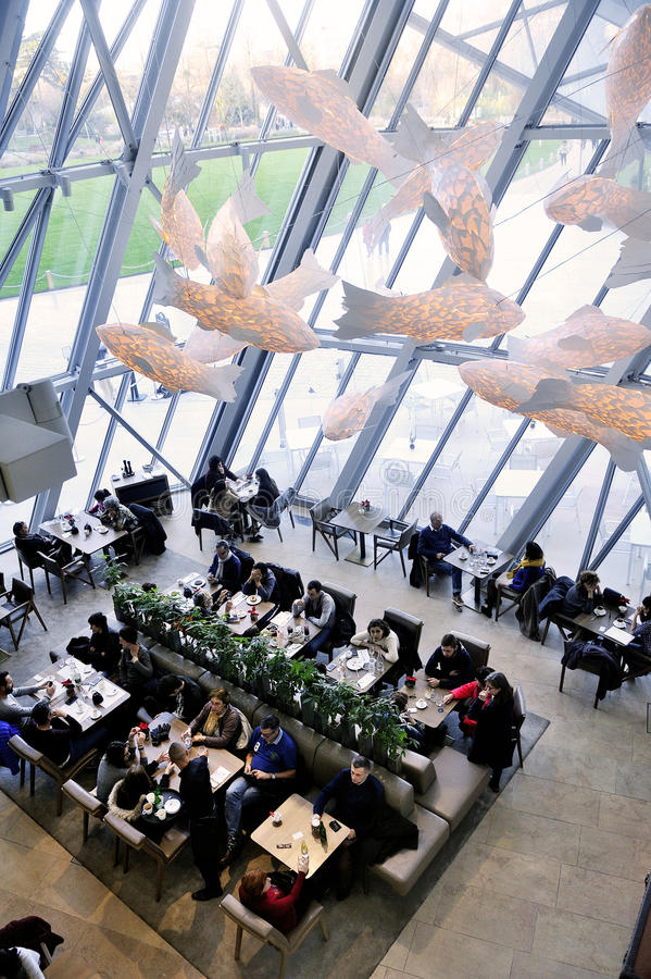 The cafeteria of the modern art museum of the Louis Vuitton Foundation stock photo