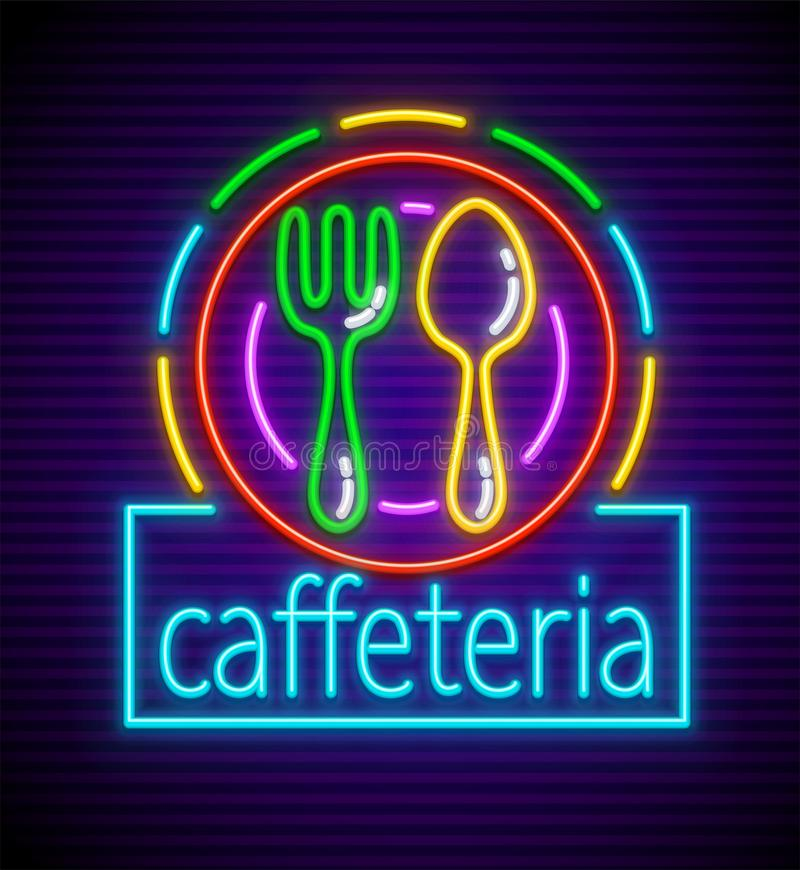 Free Cafeteria Neon Signboard With Illumination Royalty Free Stock Image - 114045616