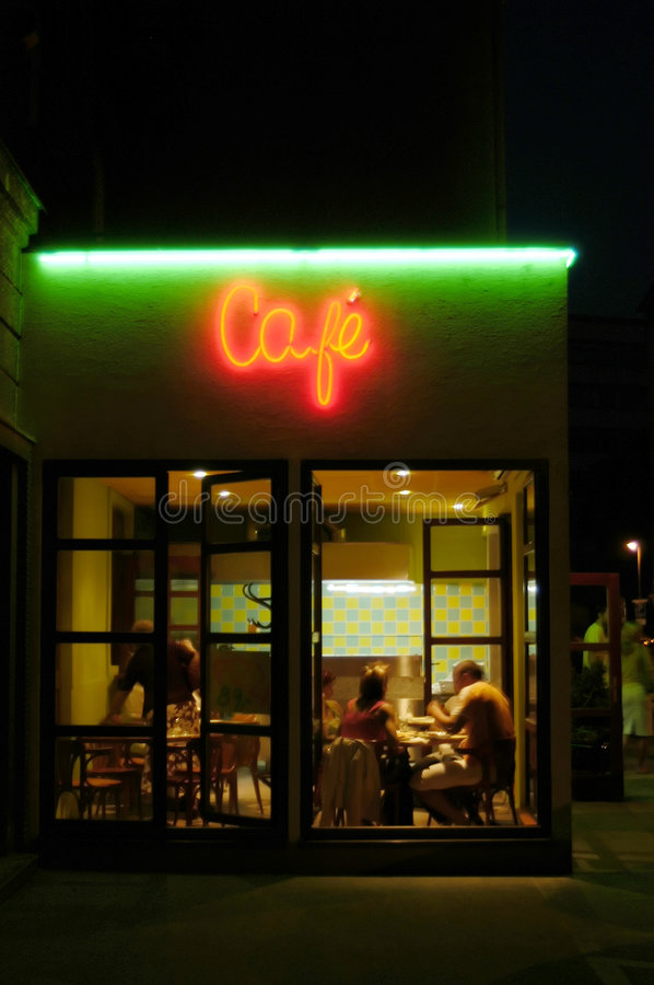Download Cafeteria by night stock photo. Image of eatery, enjoyment - 1579198