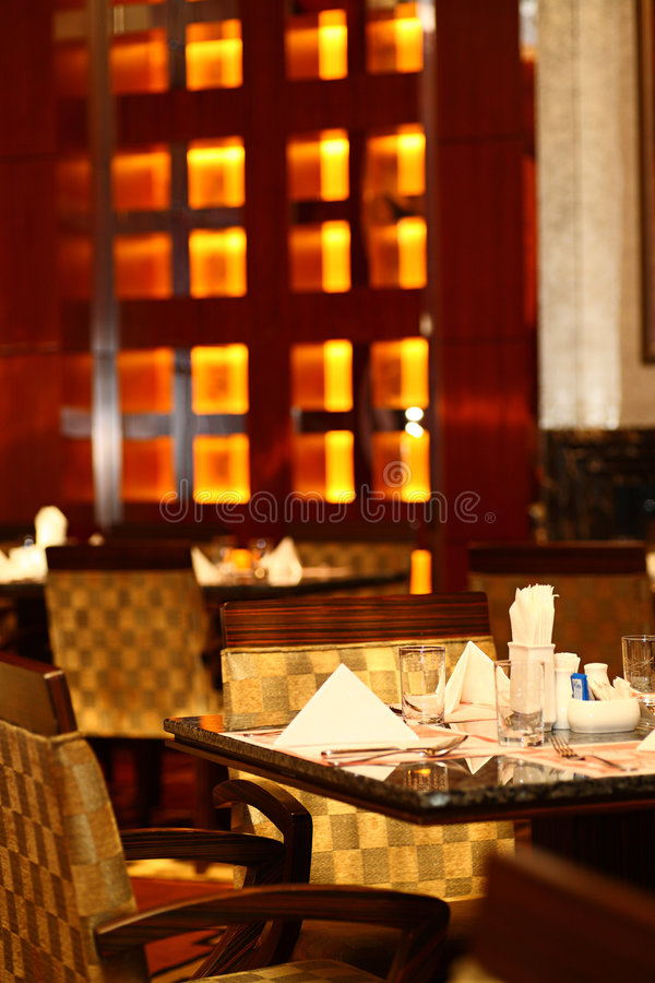 Cafeteria by night. In hotel royalty free stock photography