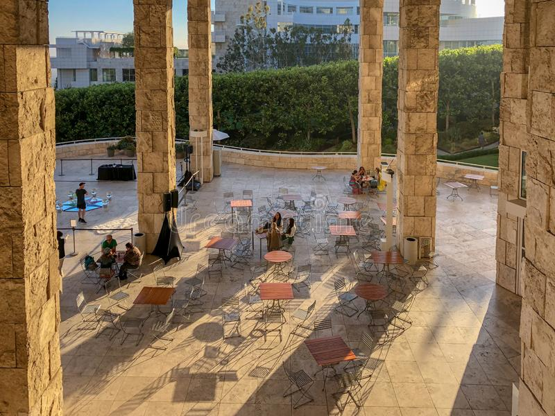 Cafeteria terrace at The Getty Center museum in Los Angeles, California, USA. The Getty Center museum in Los Angeles, California, USA was designed by architect royalty free stock image
