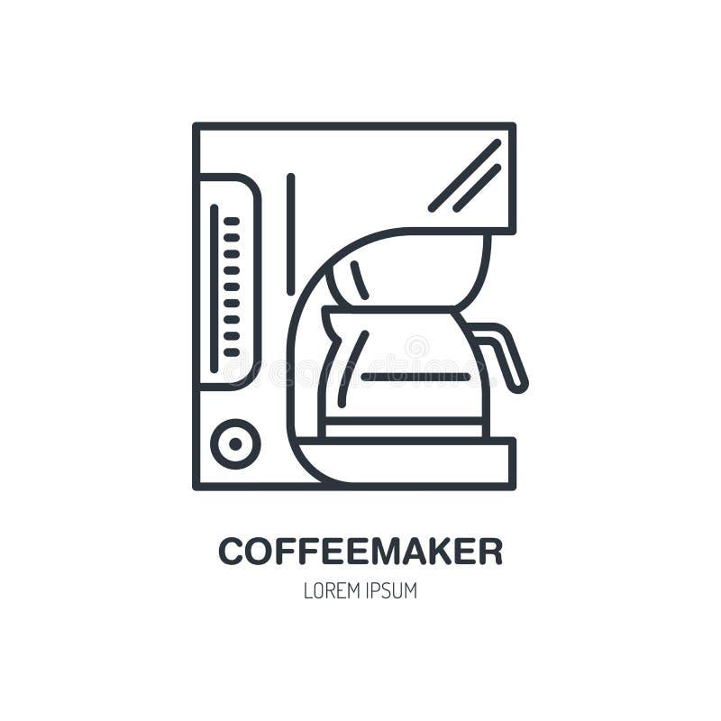 Cafetière, ligne icône de vecteur de machine de coffe Logo linéaire d'équipement de barman Décrivez le symbole pour le café, le b illustration de vecteur