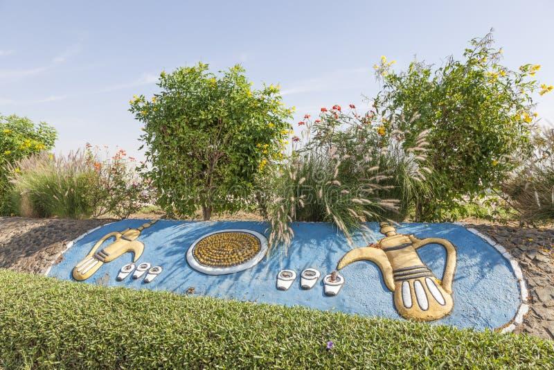 Cafetières Arabes dans l'oasis de Liwa images stock