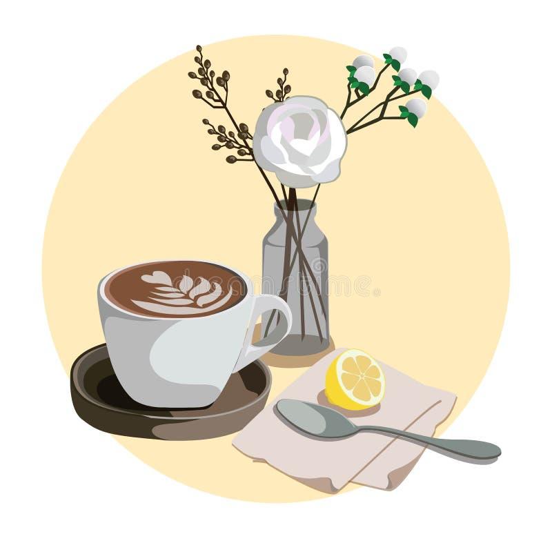 Caffè拿铁-咖啡牛奶艺术 库存例证