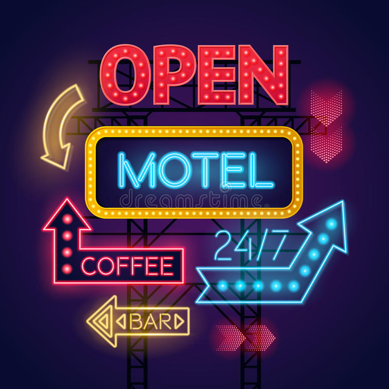 Caffè al neon del motel e segni di Antivari messi illustrazione vettoriale