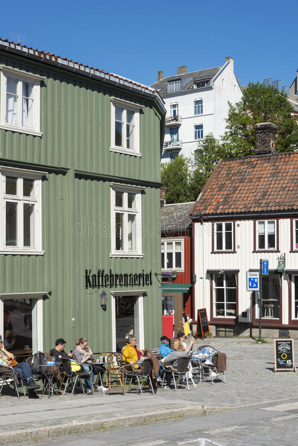 Caffè Bakklandet Trondeim fotografia stock libera da diritti