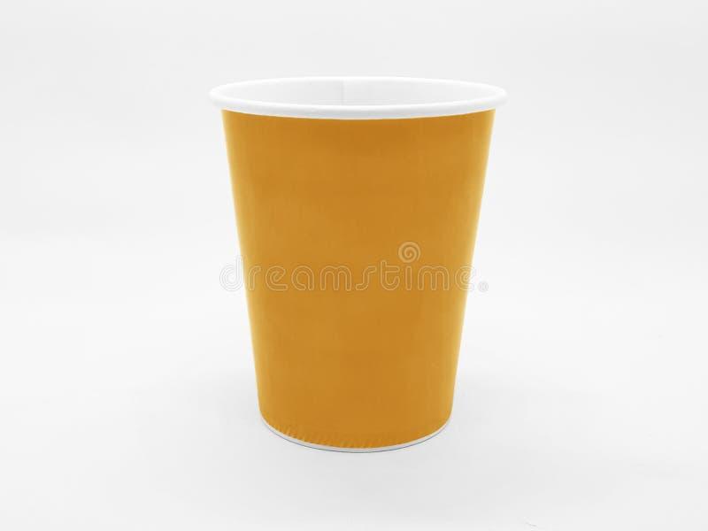 Caffè basato variopinto Juice Disposable Paper Glass Cup del tè nel fondo isolato bianco immagine stock