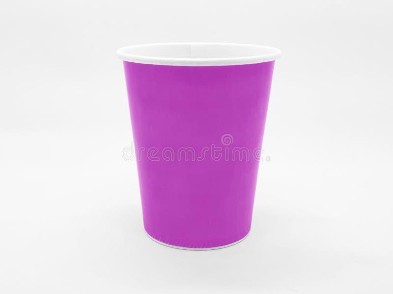 Caffè basato variopinto Juice Disposable Paper Glass Cup del tè nel fondo isolato bianco immagine stock libera da diritti