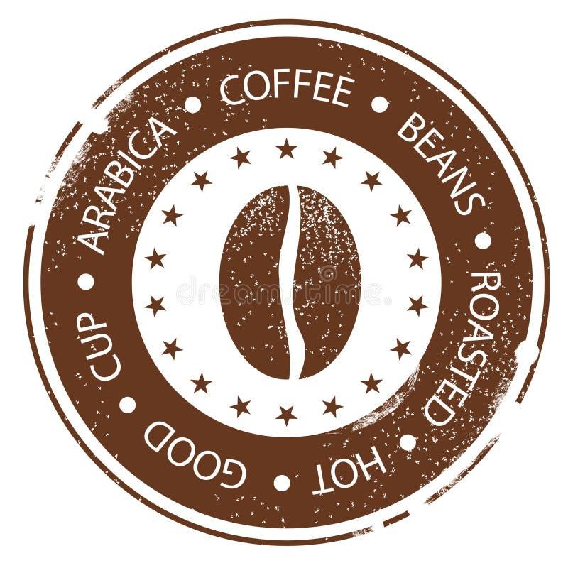 Caffè Bean Design Bollo d'annata del menu Calda, arrostito, buon, la tazza ha afflitto intorno all'etichetta royalty illustrazione gratis