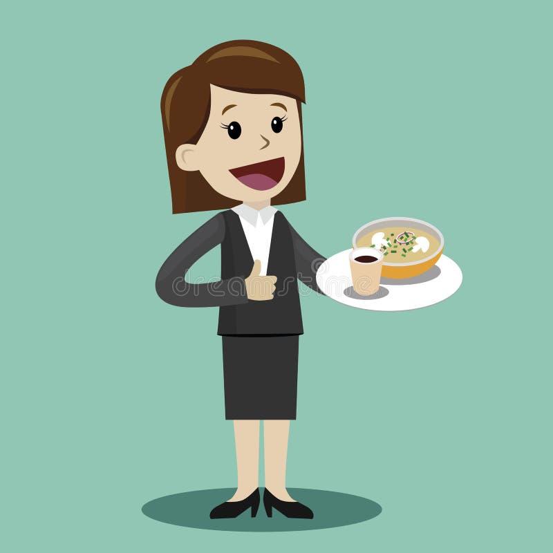 Caffè bevente della donna di affari con minestra, durante la pausa - vector l'illustrazione illustrazione vettoriale