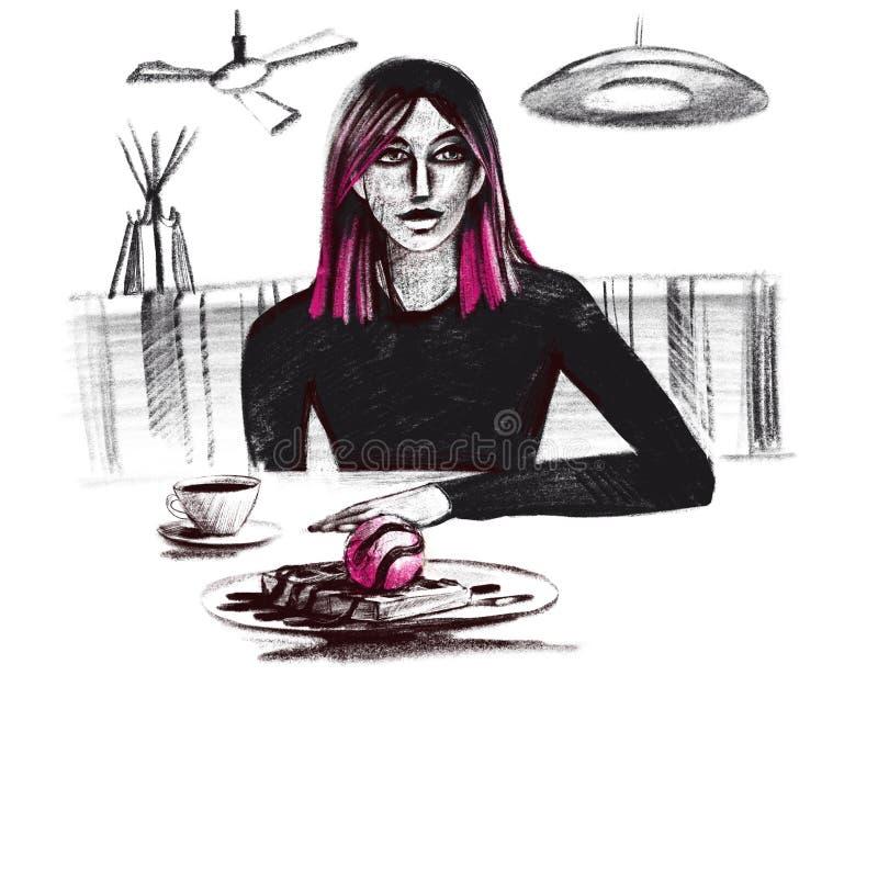 Caffè bevente della ragazza dell'illustrazione del quadro televisivo di Digital in un caffè e viola oggetti isolati nel colore ne illustrazione di stock