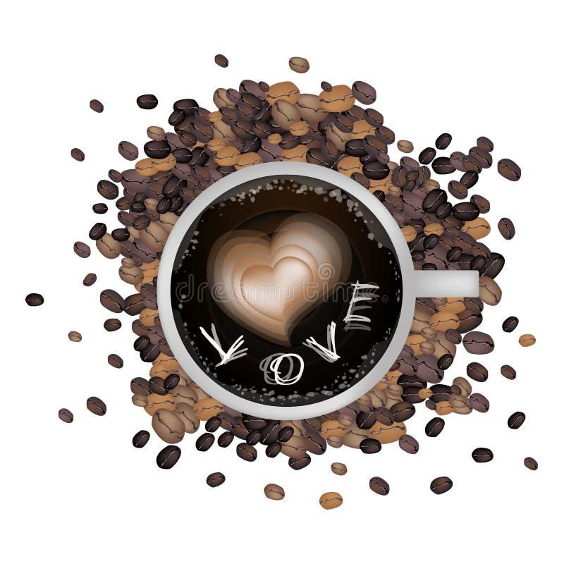 Caffè caldo con forma del cuore e la parola di amore illustrazione di stock