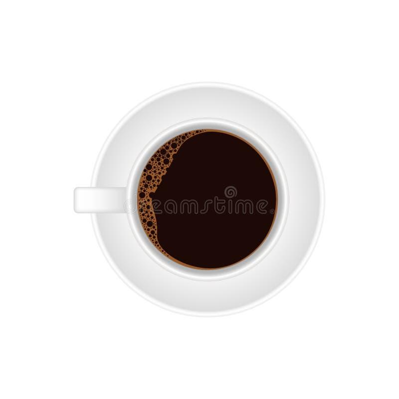 Caffè caldo in una tazza ed in un piattino bianchi illustrazione di stock