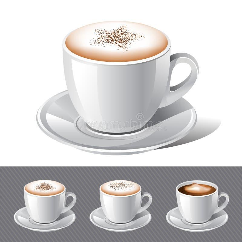 Caffè - cappuccino, caffè espresso, latte, mocha royalty illustrazione gratis