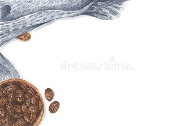 Caffè in ciotola di legno con sciarpa a maglia Disegno Watercolor immagine stock