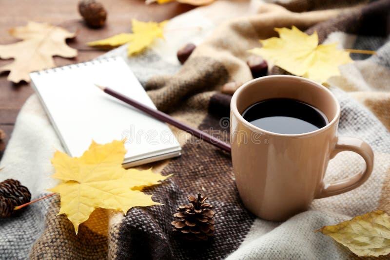 Caffè con il plaid ed il taccuino fotografia stock libera da diritti