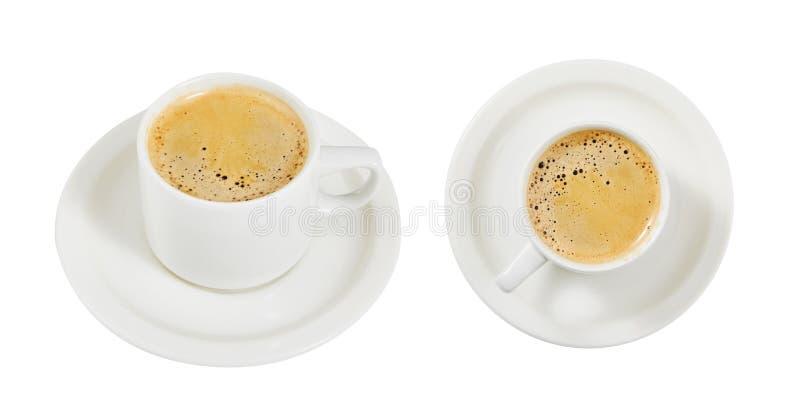 Caffè con latte insieme tazza Una bevanda d'invigorimento Mattina della prima colazione Isolato Per il vostro disegno immagine stock libera da diritti