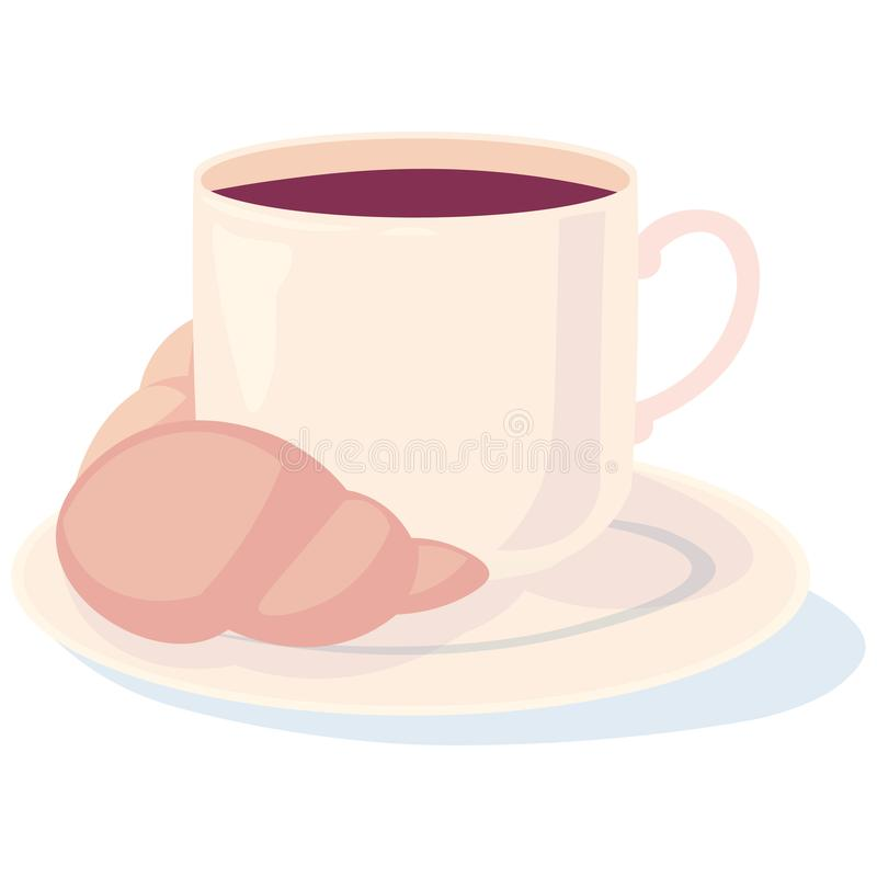 Caffè con un croissant per il vostro caro illustrazione di stock