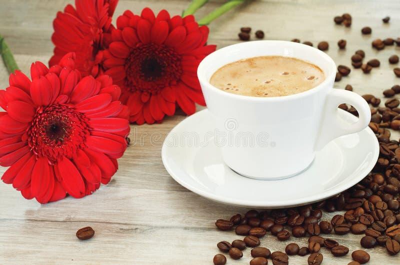 Caffè condito Fiori vicini fotografia stock libera da diritti