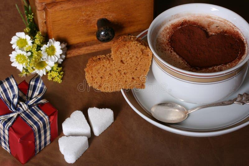Caffè del biglietto di S. Valentino fotografia stock