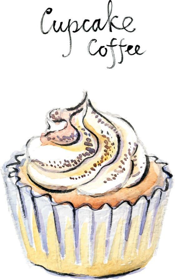 Caffè del bigné di vettore dell'acquerello royalty illustrazione gratis
