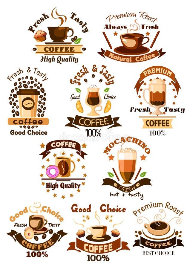 Caffè del caffè, emblemi di vettore del self-service messi illustrazione di stock