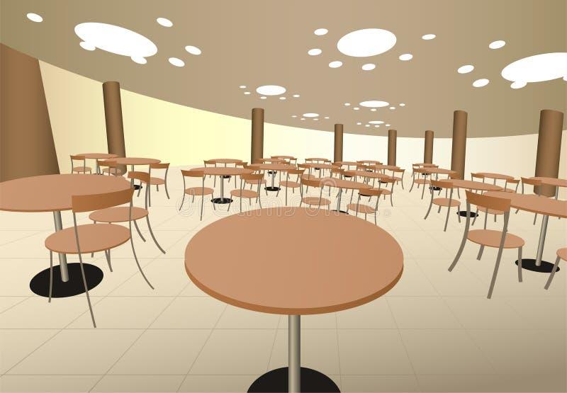 Caffè del cort dell'alimento con le tabelle nell'interiore del viale illustrazione vettoriale