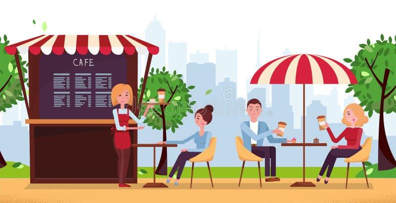 Caffè del parco con l'ombrello La gente beve Coffe in caffè all'aperto della via sul terrazzo del ristorante Parco con il caffè e royalty illustrazione gratis
