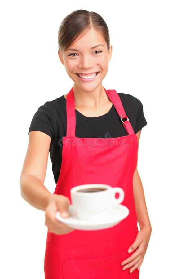Caffè del servizio della cameriera di bar fotografia stock libera da diritti
