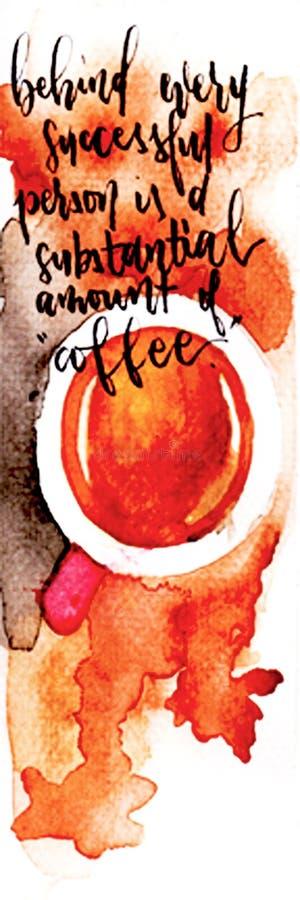 Caffè dell'acquerello fotografia stock libera da diritti