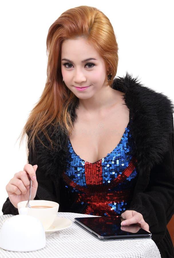 Caffè della bevanda della donna immagine stock