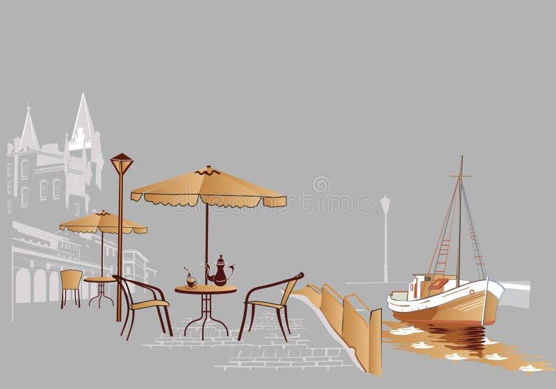 Caffè della via royalty illustrazione gratis
