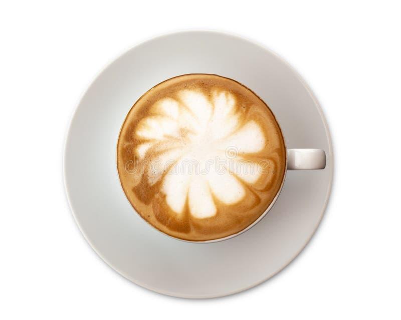 Caffè di arte del latte di vista superiore isolato su fondo bianco fotografia stock libera da diritti