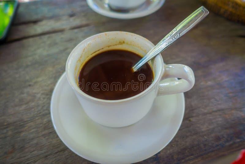 Caffè di Kopi Luwak dalla piantagione in Bali, Indonesia, su fondo di legno fotografia stock